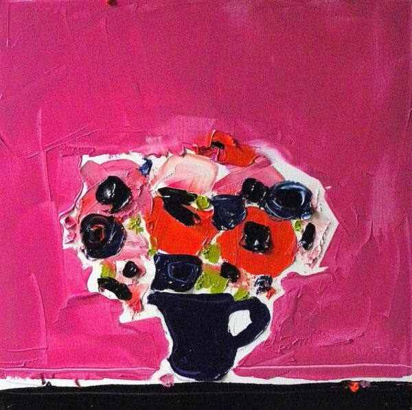 Anemones against cerise pink, Alison McWhirter, Greengallery