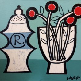 Pepper Pot and Flowers by Simon Laurie RSW RGI