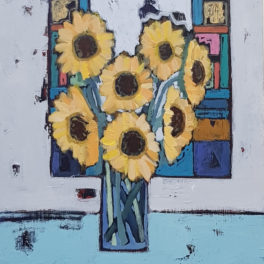 Sunflowers and Stained Glass by Alison Dickson