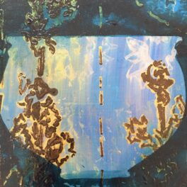 Patterned Vessel, study in Blue and Brown by Lorna J Bates