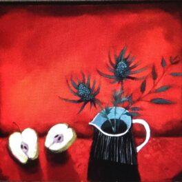 Red Blind and Eryngium by Mairi Stewart