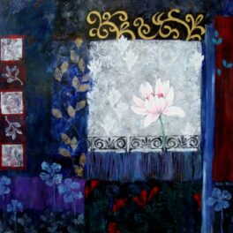 Night Garden with Lotus by Jean Hall