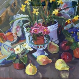 Still Life with Daffodils and Pears by Margaret Ballantyne